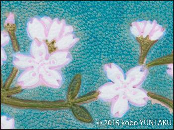 桜のパスケース(定期入れ) 花の色付け
