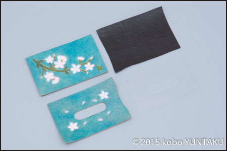 桜のパスケース(定期入れ) 青系
