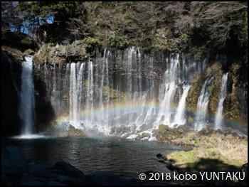 白糸の滝に架かる虹