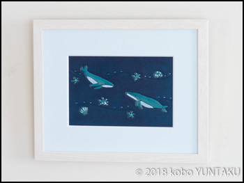 革の額絵 海の生き物「ザトウクジラ」