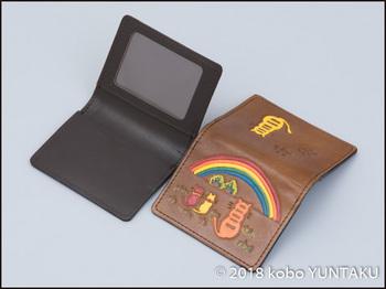 虹と猫の免許証入れ 焦茶色