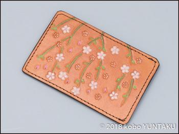 桜のパスケース(定期入れ)表側