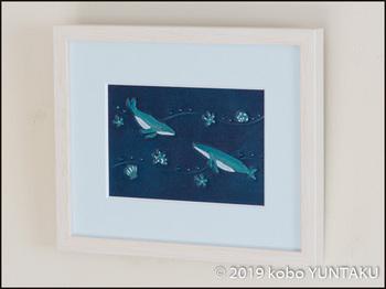革絵 海の生き物「ザトウクジラ」