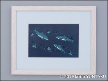革絵 海の生き物「イルカ」