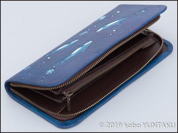 牛革の作品「イルカの長財布」
