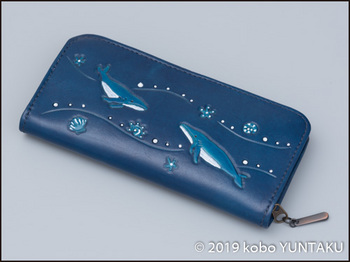 牛革の作品「ザトウクジラの長財布」