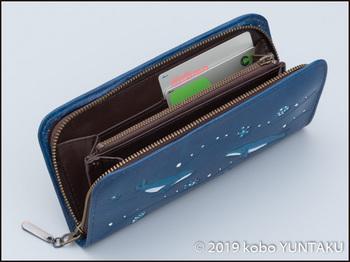 牛革の作品「ザトウクジラの長財布」カード入れ